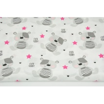 Cotton 100% gray teddy bears and fuchsia stars