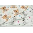 Cotton 100% gray teddy bears and fuchsia stars