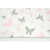 Bawełna 100% szare, różowe motyle