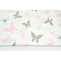 Cotton 100% gray, pink butterflies