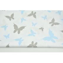 Bawełna 100% szare, niebieskie motyle