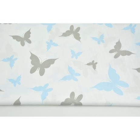 Cotton 100% gray, blue butterflies