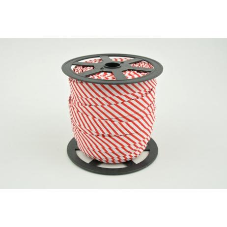 Lamówka bawełniana w czerwone paseczki 15mm (węższa)