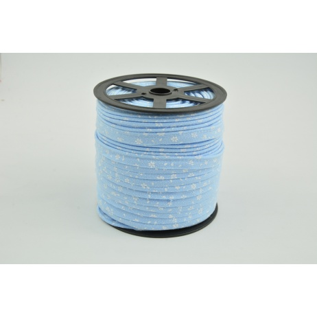 Cotton edging ribbon, white meadow on a blue background