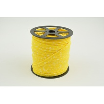 Cotton edging ribbon, white meadow on a yellow background