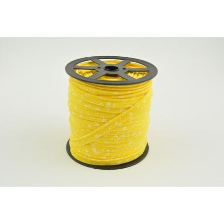 Cotton edging ribbon, white meadow on a yellow background