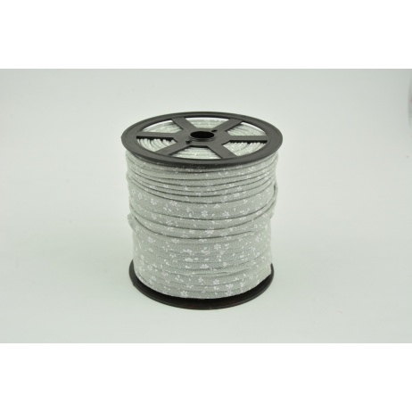 Cotton edging ribbon, white meadow on a gray background