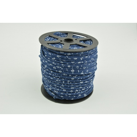 Cotton edging ribbon, white meadow on a navy background