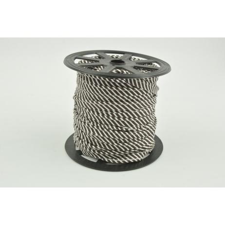 Cotton edging ribbon, 2mm brown stripes