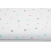 Cotton 100% pink, mint, gray dots on a white background II quality
