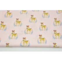 Cotton 100% deers on a candy pink background