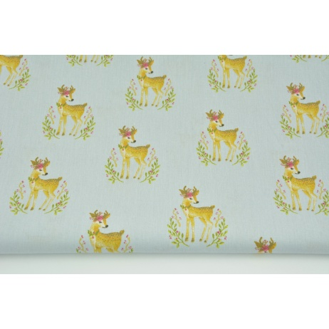 Cotton 100% deers on a gray background