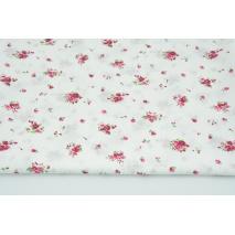 Bawełna 100% małe fuksjowe bukiety na białym tle, popelina