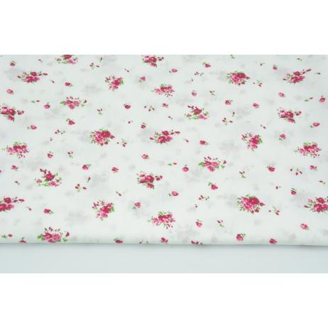 Cotton 100% small fuchsia bouquets on a white background, poplin