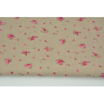 Cotton 100% small fuchsia bouquets on a beige background, poplin