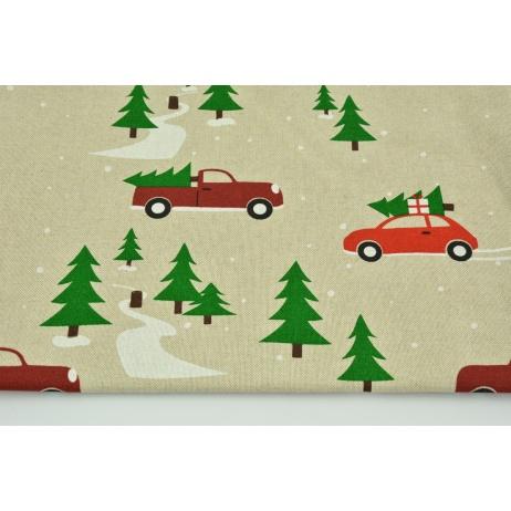 Tkanina dekoracyjna, świąteczne auta z choinkami na lnianym tle 200g/m2