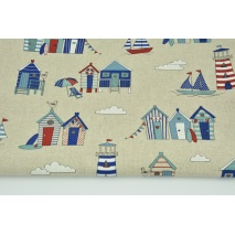 Decorative fabric, beach houses on a linen background 200 g/m2