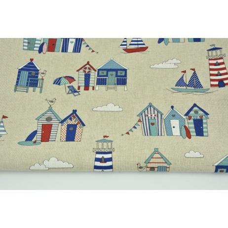 Tkanina dekoracyjna, domki plażowe na lnianym tle 200g/m2