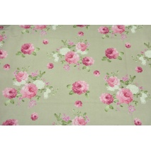 Decorative fabric, large pink flowers on a linen background 190 g/m2