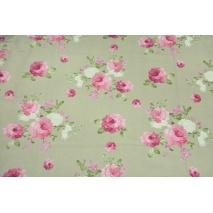 Tkanina dekoracyjna, duże różowe kwiaty na lnianym tle 190 g/m2