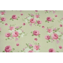Decorative fabric, large pink flowers on a light linen background 190 g/m2