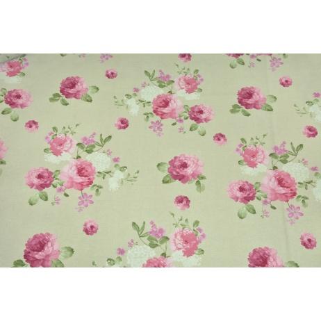 Tkanina dekoracyjna, duże różowe kwiaty na jasnym lnianym tle 190 g/m2