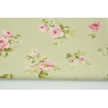 Decorative fabric, medium pink flowers on a beige background 190 g/m2