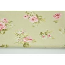 Tkanina dekoracyjna, średnie różowe kwiaty na beżowym tle 190 g/m2