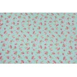 Decorative fabric, small pink flowers on a blue background 190 g/m2