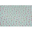 Tkanina dekoracyjna, małe różowe kwiaty na niebieskim tle 190 g/m2