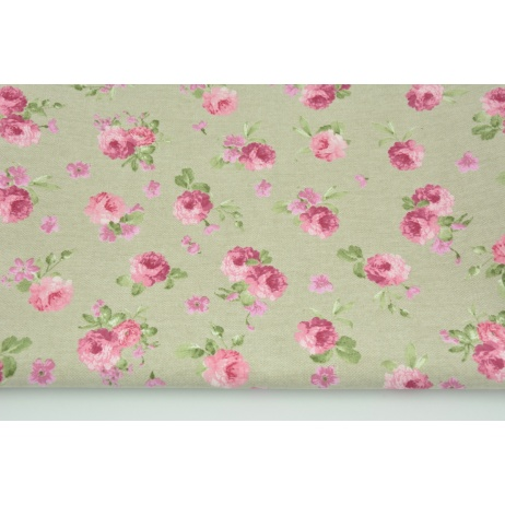 Decorative fabric, small pink flowers on a linen background 190 g/m2