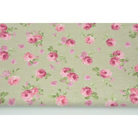 Tkanina dekoracyjna, małe różowe kwiaty na lnianym tle 190 g/m2