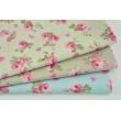Tkanina dekoracyjna, małe różowe kwiaty na jasnym lnianym tle 190 g/m2