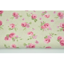 Decorative fabric, small pink flowers on a light linen background 190 g/m2