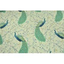 Tkanina dekoracyjna, duże pawie na kremowym tle 190 g/m2