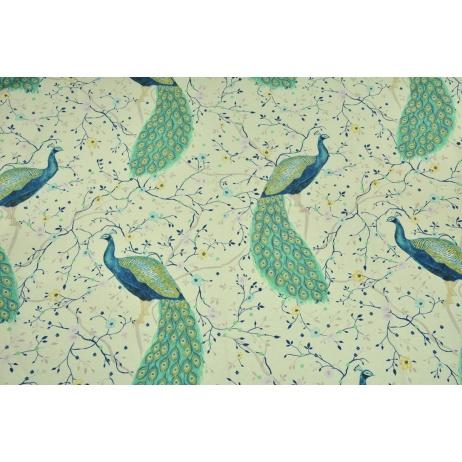 Decorative fabric, large peacocks on a cream background 190 g/m2