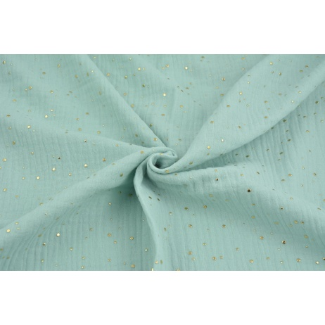 Double gauze 100% cotton golden mini dots on a powder mint background