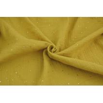 Muślin bawełniany, musztardowy w złote mini kropki
