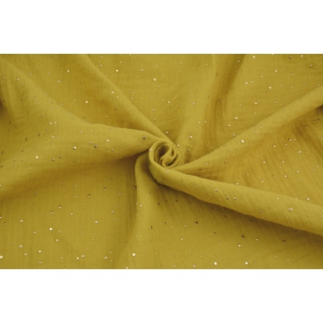 Double gauze 100% cotton golden mini dots on a mustard background