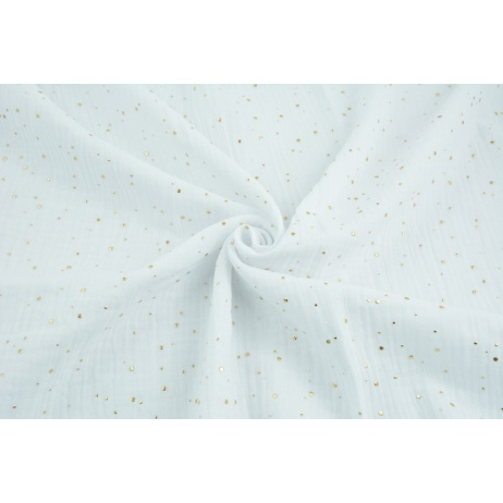 Double gauze 100% cotton golden mini dots on a white background