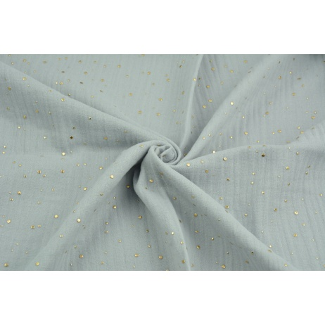 Double gauze 100% cotton golden mini dots on a light gray background