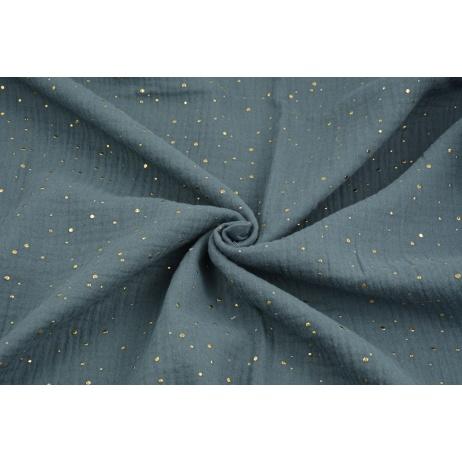 Double gauze 100% cotton golden mini dots on a dark graphite background