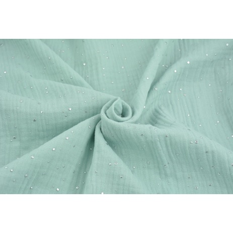 Double gauze 100% cotton silver mini dots on a powder mint background