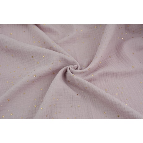 Double gauze 100% cotton golden mini stars on a dirty heather background