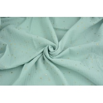 Double gauze 100% cotton golden mini stars on a powder mint background