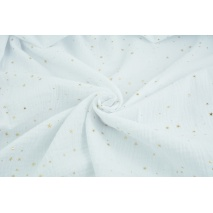 Double gauze 100% cotton golden mini stars on a white background