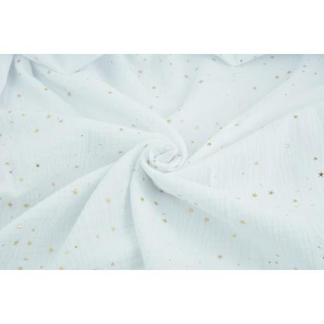 Muślin bawełniany, biały w złote mini gwiazdki