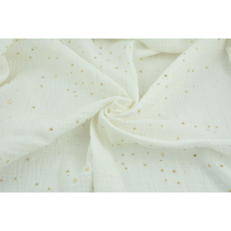 Double gauze 100% cotton golden mini stars on an ecru background