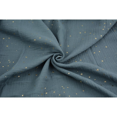 Double gauze 100% cotton golden mini stars on a dark graphite background