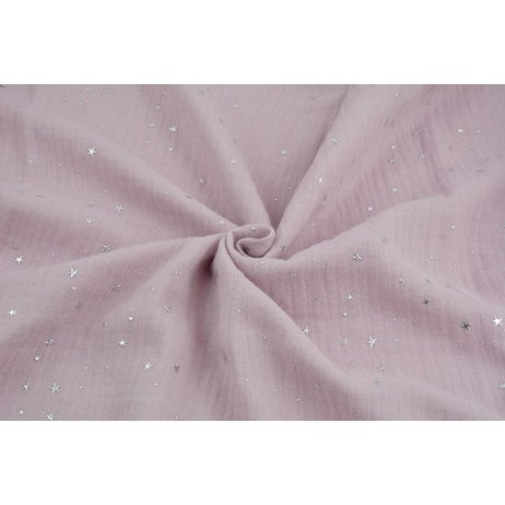 Double gauze 100% cotton silver mini stars on a dirty heather background